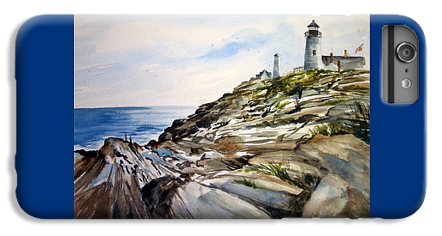 Pemaquid Light House;rocks;ocean;maine;pemaquid;light;lighthouse; IPhone 6 Plus Case featuring the painting From The Rocks Below by Lois Mountz