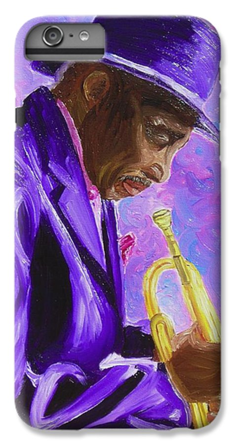Street Musician Trumpet Player IPhone 6 Plus Case featuring the painting From The Soul by Michael Lee