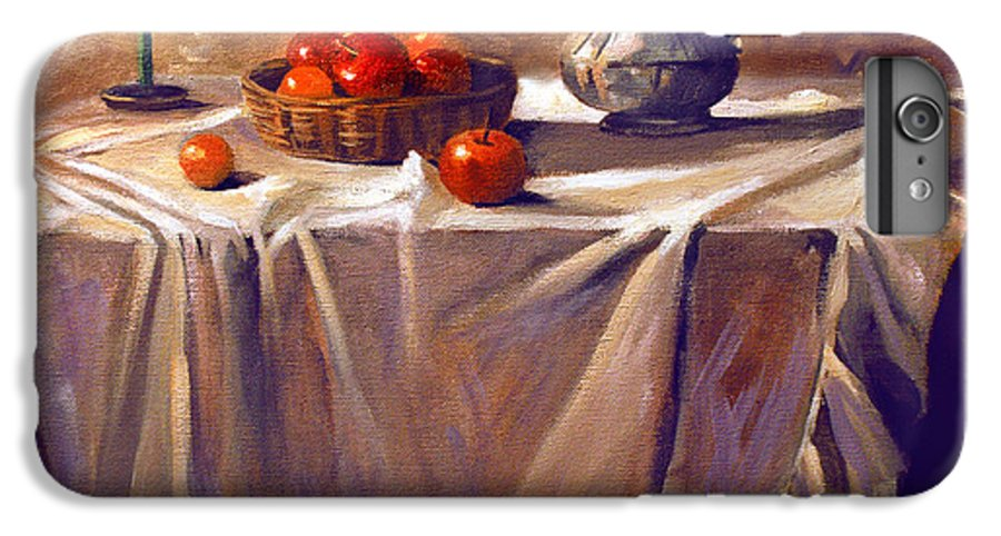 Still Life IPhone 6 Plus Case featuring the painting Fruit By Candle Light by Nancy Griswold