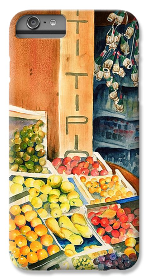 Fruit Shop Window IPhone 6 Plus Case featuring the painting Fruit Shop In San Gimignano by Judy Swerlick