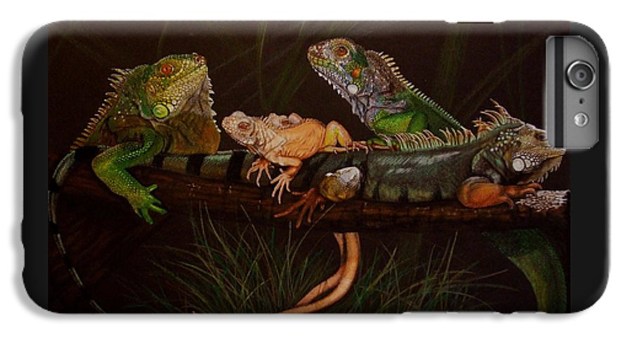 Iguana IPhone 6 Plus Case featuring the drawing Full House by Barbara Keith