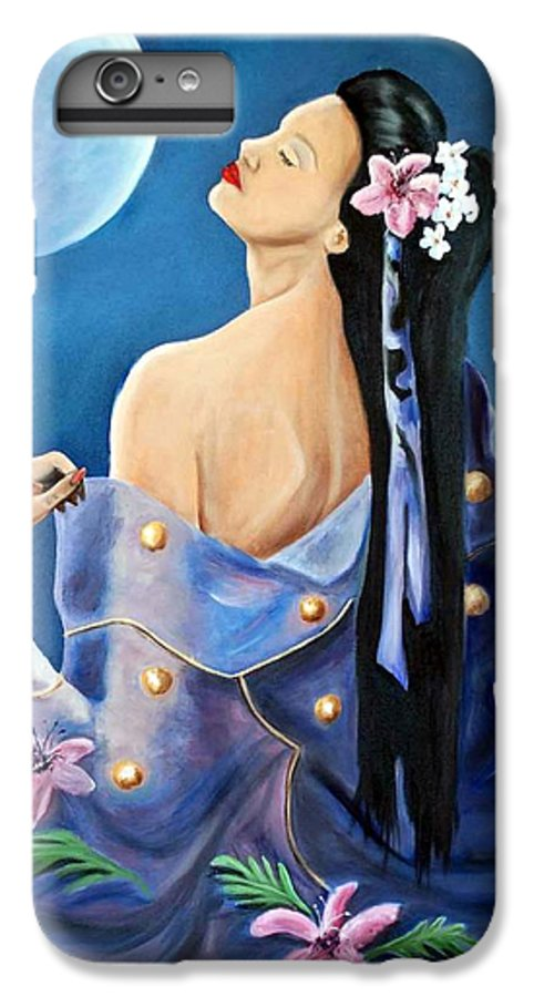 Beauty IPhone 6 Plus Case featuring the painting Full Moon by Margaret Fortunato