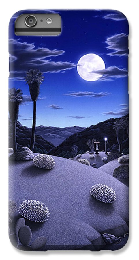 Desert IPhone 6 Plus Case featuring the painting Full Moon Rising by Snake Jagger