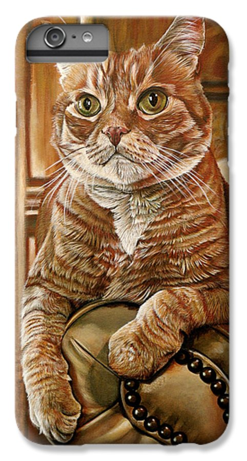 Cat IPhone 6 Plus Case featuring the painting Furby by Cara Bevan