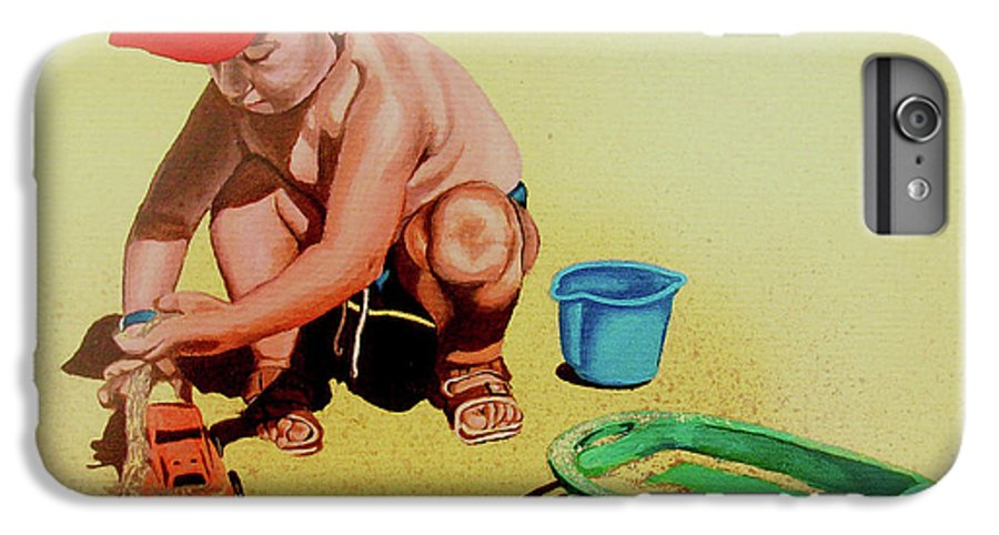 Beach IPhone 6 Plus Case featuring the painting Game At The Beach - Juego En La Playa by Rezzan Erguvan-Onal