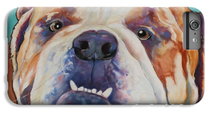 Pat Saunders-white Pet Portraits IPhone 6 Plus Case featuring the painting Game Face  by Pat Saunders-White