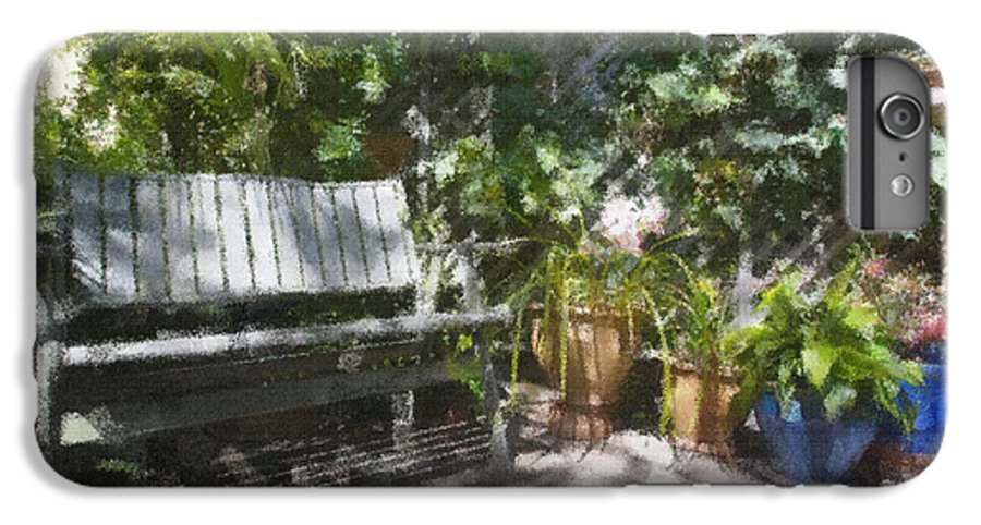 Garden Bench Flowers Impressionism IPhone 6 Plus Case featuring the photograph Garden Bench by Avalon Fine Art Photography