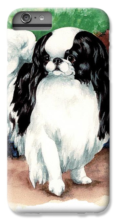 Japanese Chin IPhone 6 Plus Case featuring the painting Garden Chin by Kathleen Sepulveda