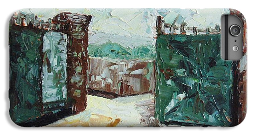 Gate Oil Canvas IPhone 6 Plus Case featuring the painting Gate2 by Seon-Jeong Kim