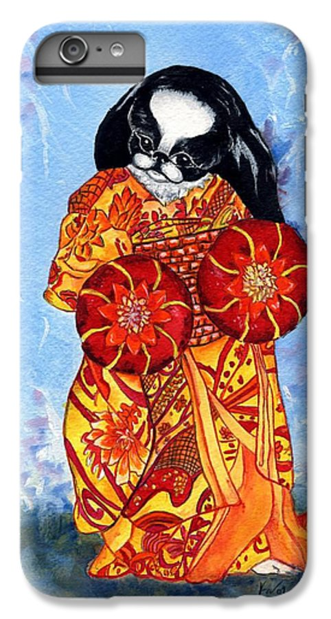 Japanese Chin IPhone 6 Plus Case featuring the painting Geisha Chin by Kathleen Sepulveda