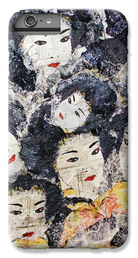 Geisha IPhone 6 Plus Case featuring the mixed media Geisha by Shelley Jones