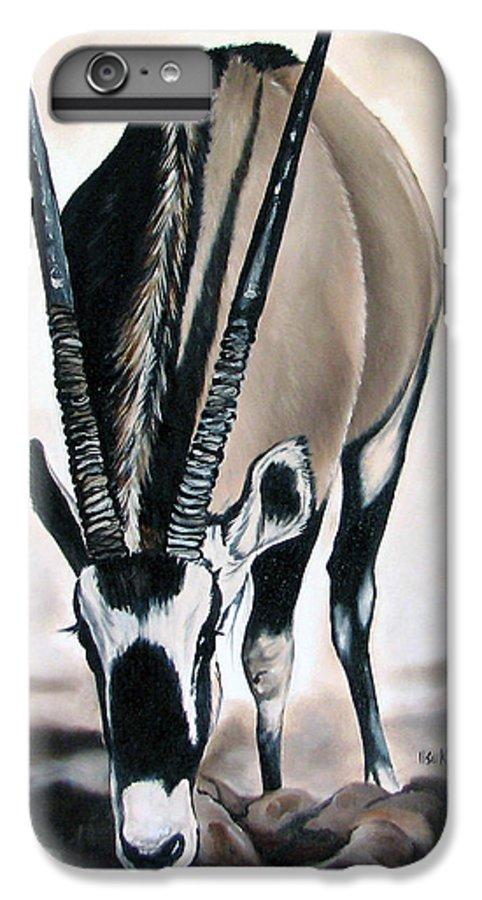 Wildlife IPhone 6 Plus Case featuring the painting Gemsbok - Thirst by Ilse Kleyn