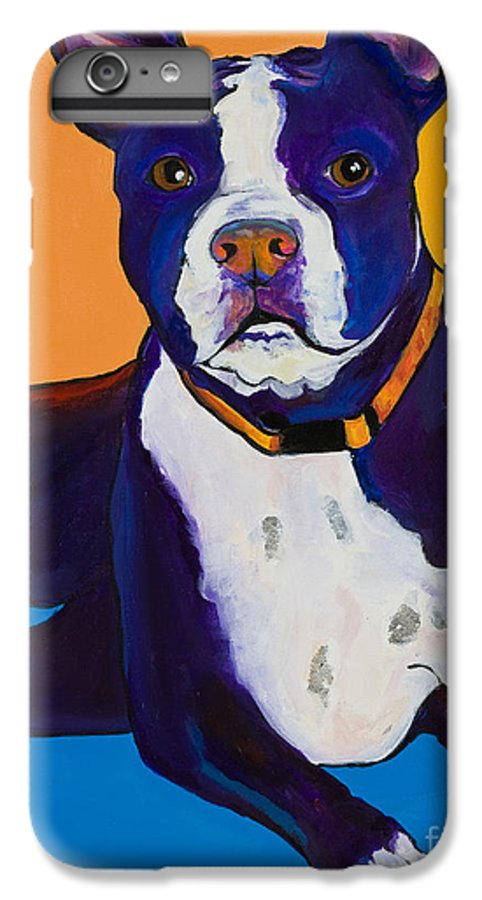 Boston Terrier IPhone 6 Plus Case featuring the painting Georgie by Pat Saunders-White