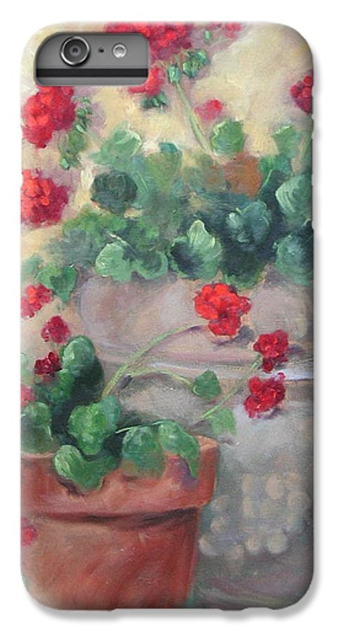 Geraniums IPhone 6 Plus Case featuring the painting Geraniums by Ginger Concepcion