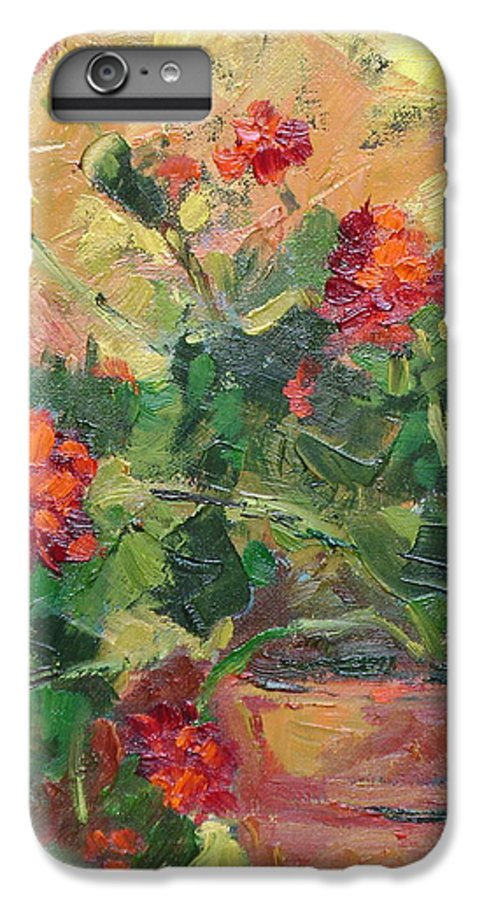 Geraniums IPhone 6 Plus Case featuring the painting Geraniums II by Ginger Concepcion