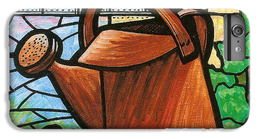 Gardening IPhone 6 Plus Case featuring the painting Giant Watering Can Staunton Landmark by Jim Harris