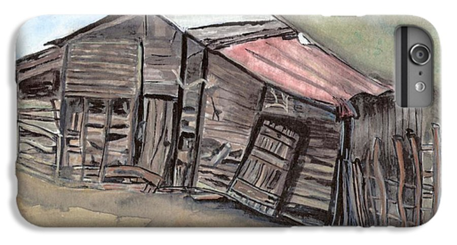 Barn IPhone 6 Plus Case featuring the painting Gila New Mexico Cattle Barn by Margaret Fortunato