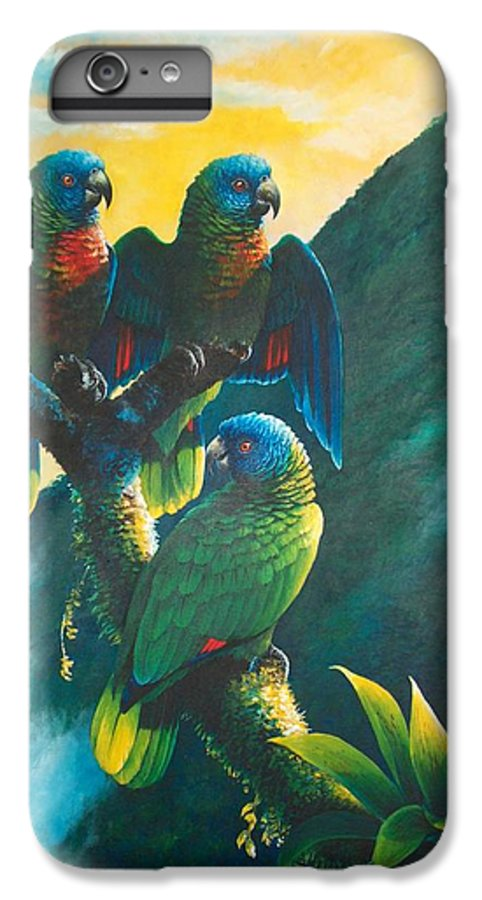 Chris Cox IPhone 6 Plus Case featuring the painting Gimie Dawn 1 - St. Lucia Parrots by Christopher Cox