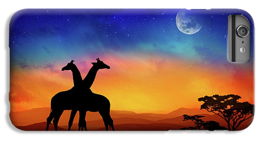 Giraffe IPhone 6 Plus Case featuring the mixed media Giraffes Can Dance by Iryna Goodall
