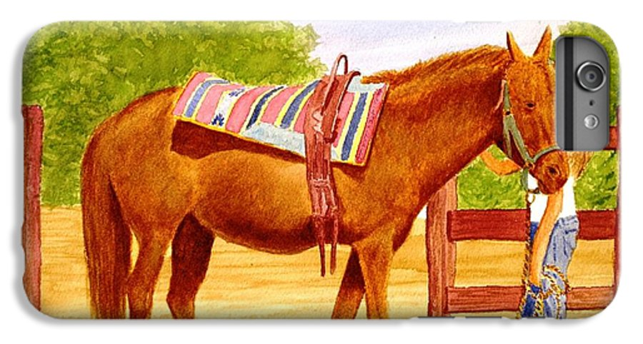 Equine IPhone 6 Plus Case featuring the painting Girl Talk by Stacy C Bottoms
