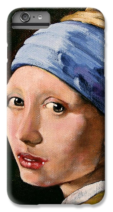 Portrait IPhone 6 Plus Case featuring the painting Girl With A Pearl Earring A Reproduction Of Vermeer by Joan Garcia