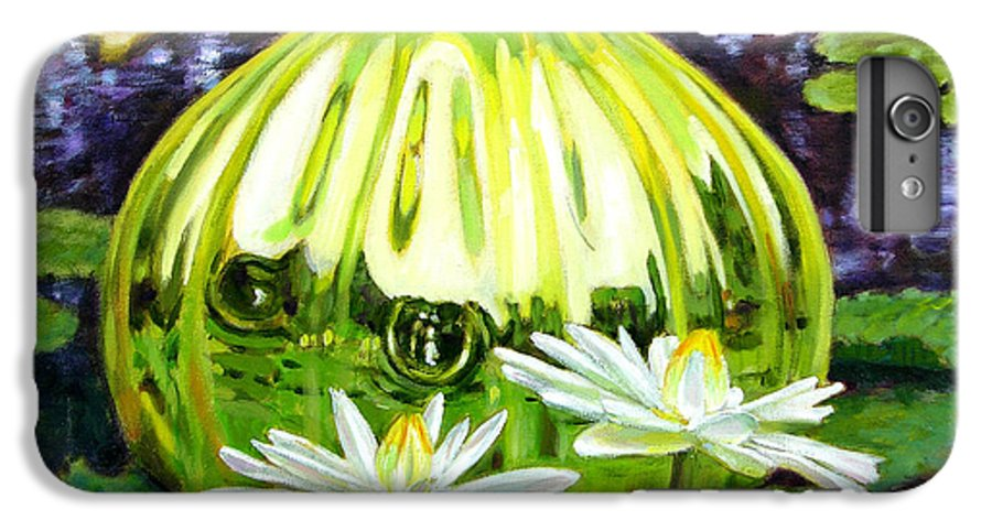 Water Lilies IPhone 6 Plus Case featuring the painting Glass Among The Lilies by John Lautermilch