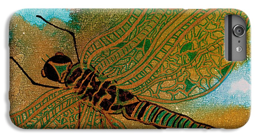 Dragonfly IPhone 6 Plus Case featuring the mixed media Golden Dragonfly by Susan Kubes
