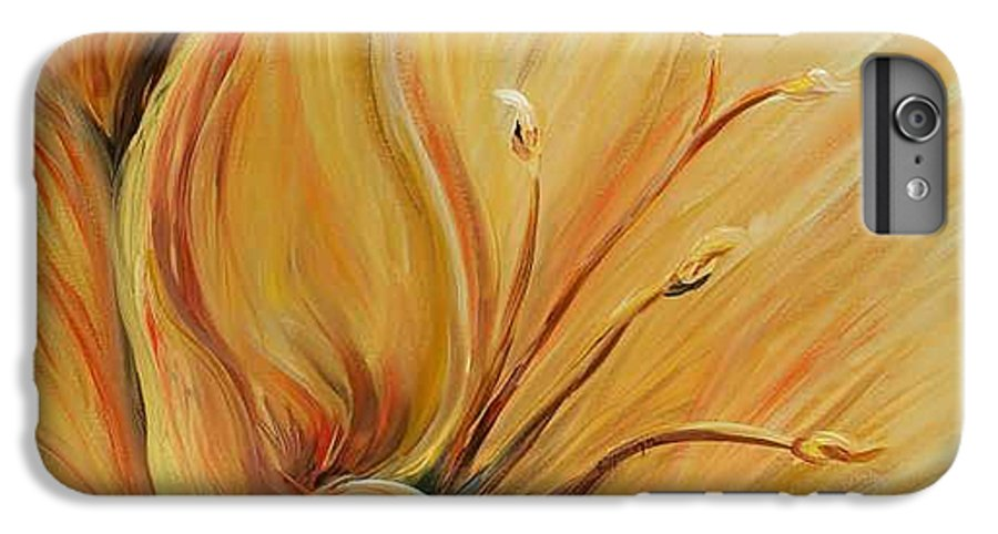 Gold IPhone 6 Plus Case featuring the painting Golden Glow by Nadine Rippelmeyer