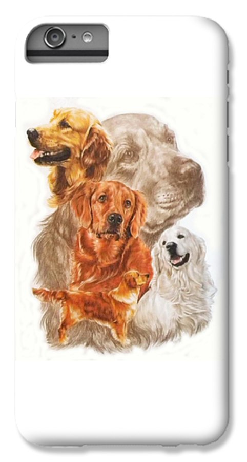 Retriever IPhone 6 Plus Case featuring the mixed media Golden Retriever W/ghost by Barbara Keith