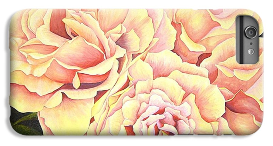 Roses IPhone 6 Plus Case featuring the painting Golden Roses by Rowena Finn