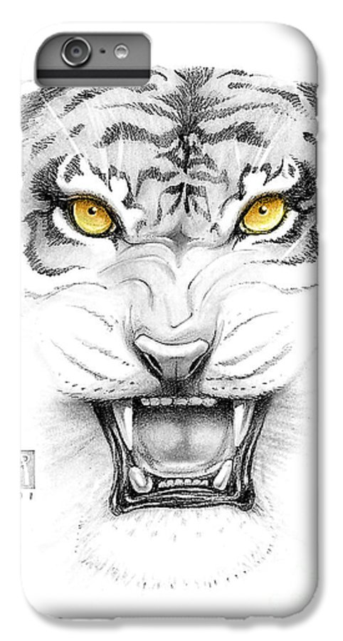 Amber IPhone 6 Plus Case featuring the digital art Golden Tiger Eyes by Melissa A Benson