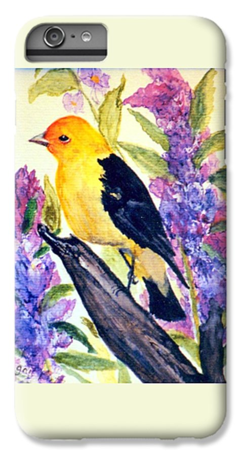 Birds IPhone 6 Plus Case featuring the painting Goldfinch by Gail Kirtz