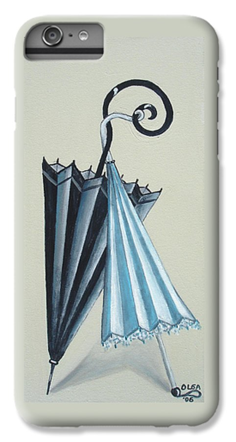 Umbrellas IPhone 6 Plus Case featuring the painting Goog Morning by Olga Alexeeva