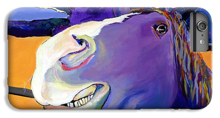 Barnyard Animal IPhone 6 Plus Case featuring the painting Got Oats   by Pat Saunders-White