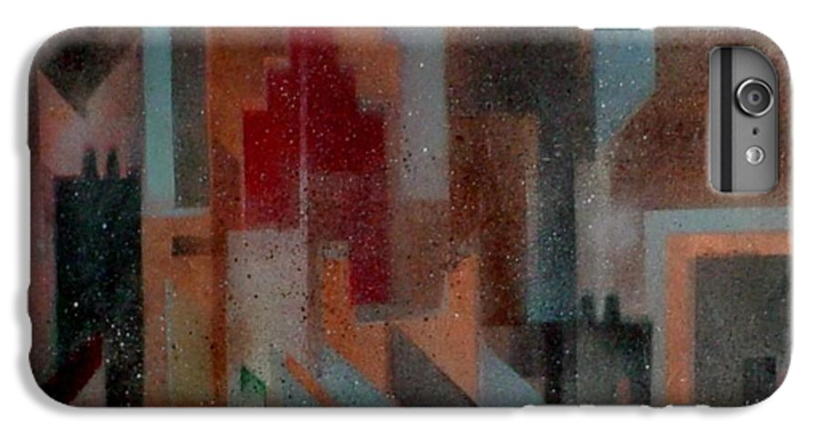 Abstract IPhone 6 Plus Case featuring the painting Gothem City by Anita Burgermeister