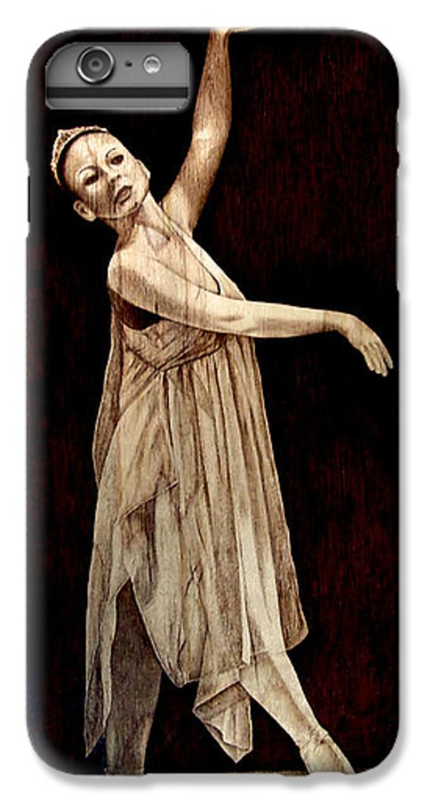 Pyrography; Woodburning; Ballerina; Light; Portrait; Shoe; Stage; Dress; Crown; Tiara; Dance; IPhone 6 Plus Case featuring the pyrography Grace Touching Light by Jo Schwartz