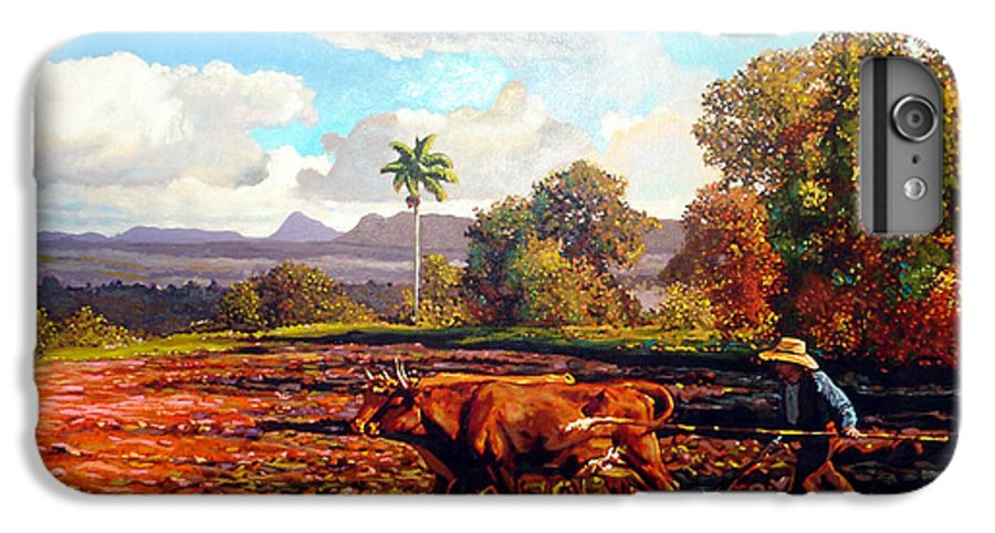 Cuban Art IPhone 6 Plus Case featuring the painting Grandfather Farm by Jose Manuel Abraham
