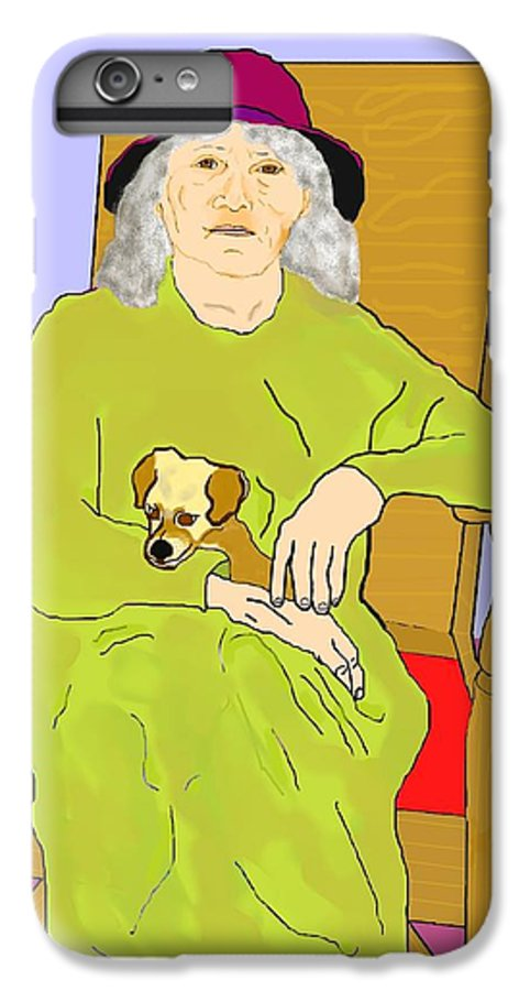 Grandmother IPhone 6 Plus Case featuring the painting Grandma And Puppy by Pharris Art