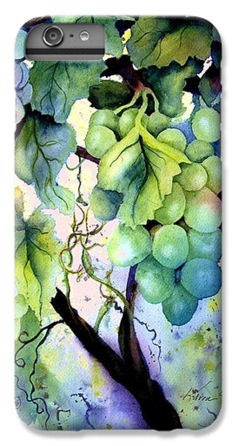 Grapes IPhone 6 Plus Case featuring the painting Grapes II by Karen Stark