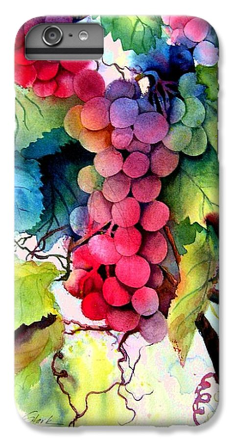 Grapes IPhone 6 Plus Case featuring the painting Grapes by Karen Stark