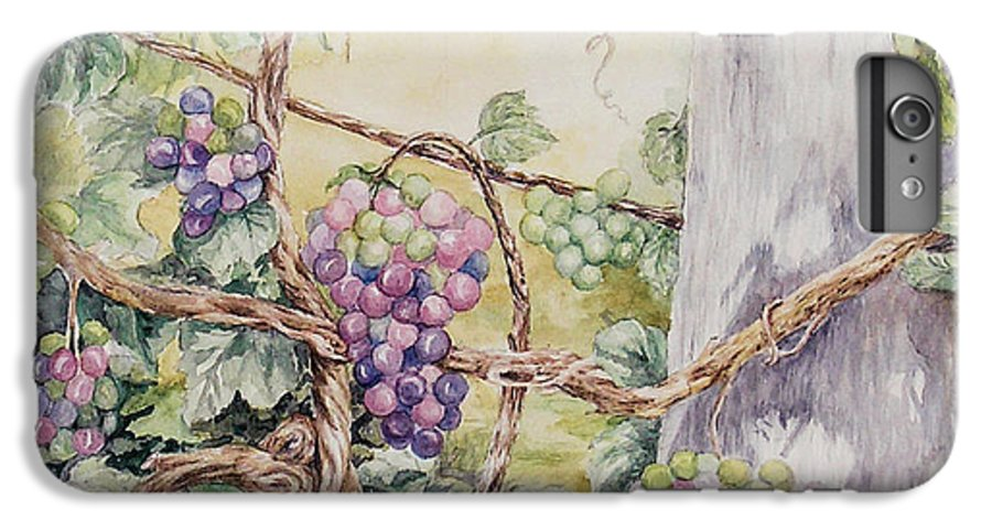 Vines IPhone 6 Plus Case featuring the painting Grapevine Laurel Lakevineyard by Valerie Meotti