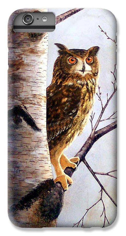 Great Horned Owl In Birch IPhone 6 Plus Case featuring the painting Great Horned Owl In Birch by Frank Wilson