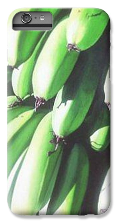 Hyperrealism IPhone 6 Plus Case featuring the painting Green Bananas I by Michael Earney