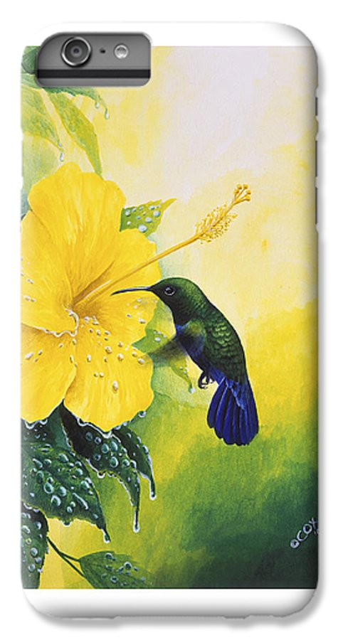 Chris Cox IPhone 6 Plus Case featuring the painting Green-throated Carib Hummingbird And Yellow Hibiscus by Christopher Cox