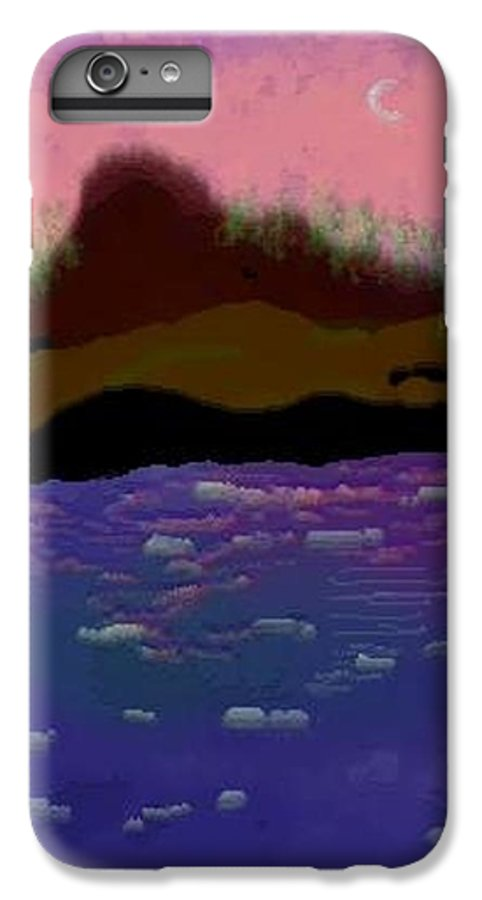 Sky.moon. Rose Sun Reflection.mount.forest. Island.sea.little Icebergs.deep Water IPhone 6 Plus Case featuring the digital art Greenland.summer by Dr Loifer Vladimir
