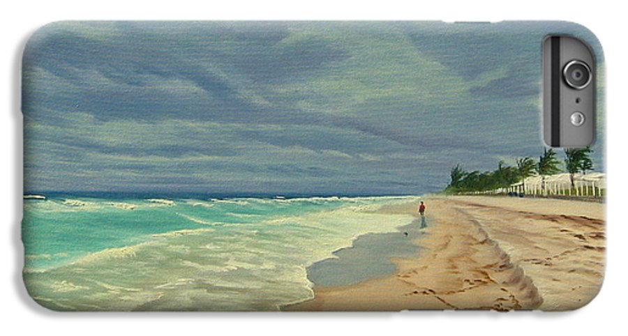 Beach IPhone 6 Plus Case featuring the painting Grey Day On The Beach by Lea Novak