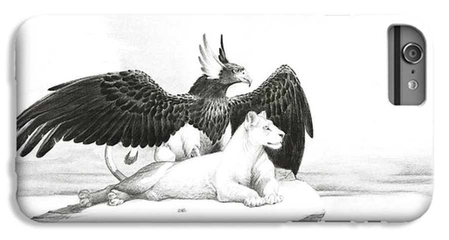 Griffin IPhone 6 Plus Case featuring the painting Griffin And Lioness by Melissa A Benson