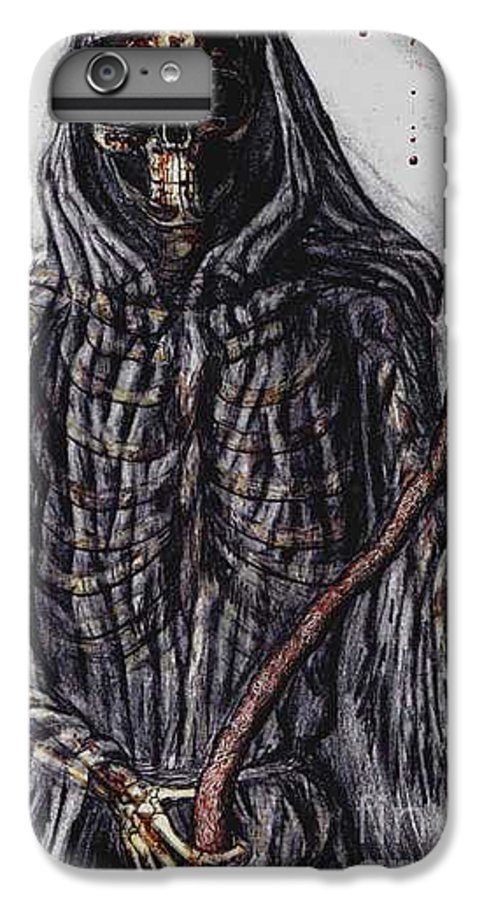 Grim Reaper IPhone 6 Plus Case featuring the drawing Grim Reaper Colored by Katie Alfonsi