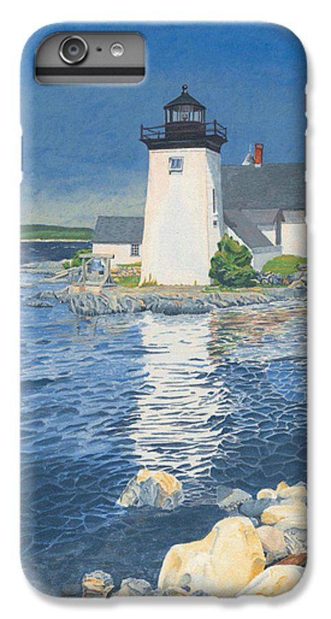 Lighthouse IPhone 6 Plus Case featuring the painting Grindle Point Light by Dominic White