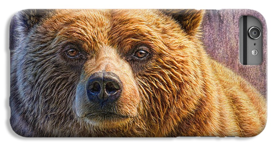 Grizzly IPhone 6 Plus Case featuring the painting Grizzly Portrait by Phil Jaeger